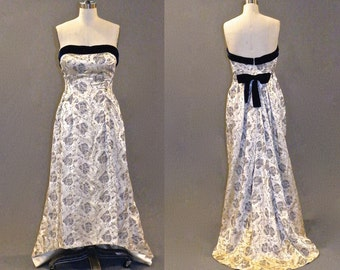 50s Dress, 1950s Evening Dress, Embroidered Satin 50s Gown, Old Hollywood Glamour