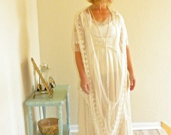Edwardian Wedding Dress, 1910s 1920s Silk & Lace Bohemian Wedding Dress, Antique Downton Abbey Flapper Dress