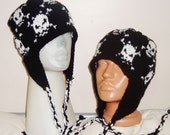 100% wool hats, set of 2 hats for mens and womens hats, Skull Knitted Hats Black White Skull Beanies