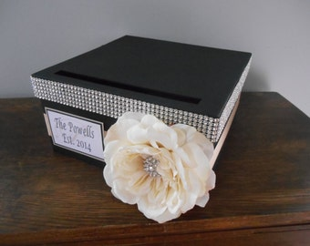 Vintage Glam Wedding Card Box Modern Black and Champagne, ivory rose with rhinestones personalized tag You Customize Colors and Flowers