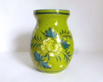 Vintage Italian Lime Green Terra Cotta Vase with Hand Painted Flower - ITALY