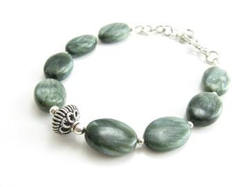 Seraphinite Gemstone Bracelet Green Stone Bracelet Sterling Silver Handmade Jewelry BooBeads Jewelry  Bird's Feather Wing Stone