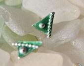 Triangle Green Enamel Post Earrings, Sterling, Dark Jade, Petite, Handmade Studs