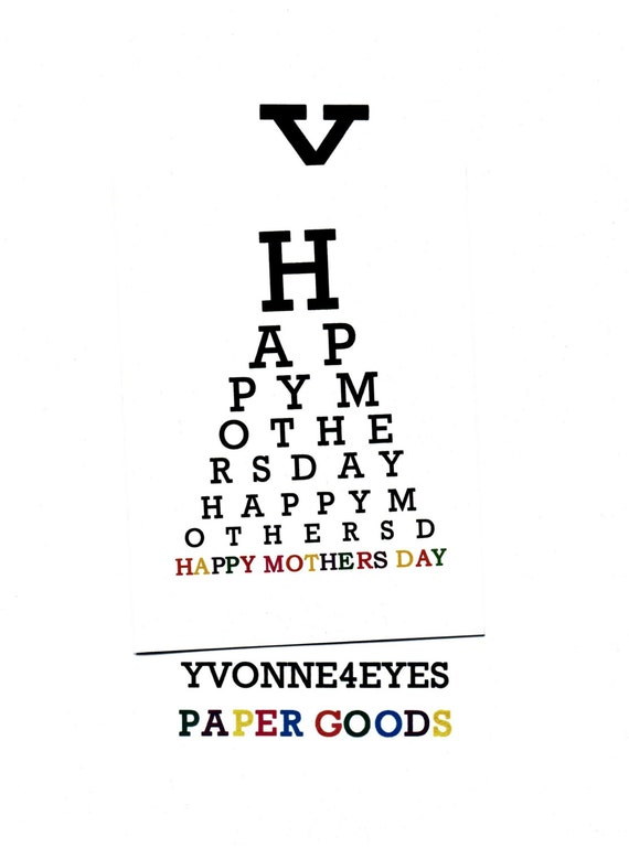 Mothers Day.Happy Mothers Day.Eye Chart Card.Paper Goods.Eye Exam.Site.Vision.Optometrist.Ey…
