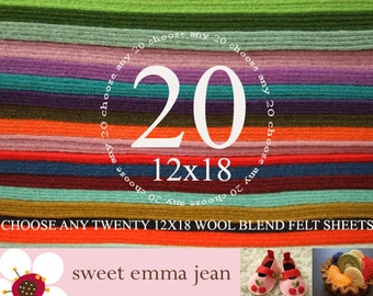 Wool Felt Sheets - Choose Any Twenty 12x18 Sheets - Merino Wool Blend Felt