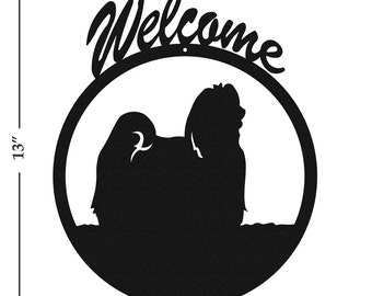 Dog Maltese Black Metal Welcome Sign