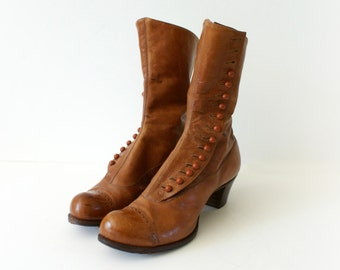 Vintage Boots -  1920s Chestnut Leather Button Boots - Into the Woods