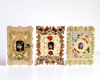 The Anti-Valentine - Meanie Girls Mad at You - 3 Valentine Postcards- by Mab Graves