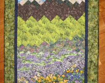 Art Quilt, Purple Fields and Stream Mountain Fabric Wallhanging Wall Art Landscape Quilt Purple Yellow Flowers Blue Sky Quilted Handmade Art