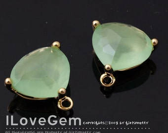 SALE 20% off // 10pcs of  NP-993 Gold Plated, Trilliant Cut, Lt. Apple Green, Glass pendant, Framed glass, Faceted glass Pendant