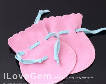 PO13 Jewellery pouch, Pink, Velvet with skyblue string, Small size, 4pcs