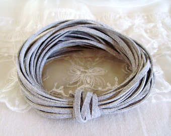 High Quality Suede Cord 3x1,5mm, Gray Grey High Quality Suede Lace, Vegan Cord - Sold in 2 yards/ 1,85m approx. Lengths