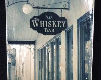 Whiskey Bar Photo to Wood Transfer Portland Oregon Art Panel Block - City Urban Landscape  - Wall, Shelf, Desk Decoration