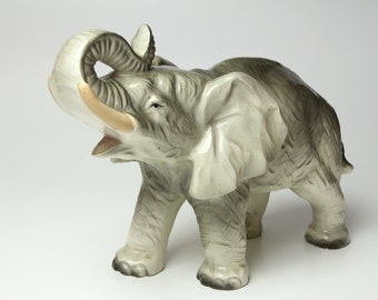 Vintage Elephant Ceramic Figurine EXTRA LARGE Made in Japan 1950s