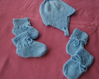 Baby Boys Hat, Bootees and Mittens Set