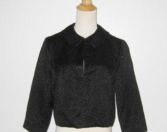 Vintage 1950s 1960s Black Satin Jacket With Colored Sequins - Size M
