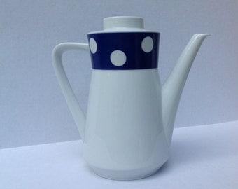 Vintage Coffee Pot - Teapot - Polka Dots