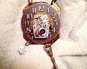 Handmade Vintage Steampunk Antique Watch Pendant Necklace with Key  and Crystal Charm