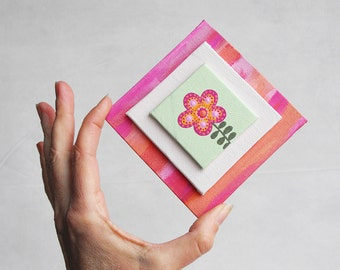 Original Mini Painting on Layered Canvas Panels - Bright Pink and Orange Flower