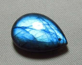 AAAA - Awesome Amazing Gorgeous Blue Fire - LABRADORITE - Front DRILLED  Smooth Polished Pear Briolett Focal Huge size - 24x33 mm