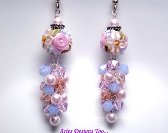 Peach, Pink and Blue.Lampwork Earrings ,Spring Blossoms Floral Lampwork Earrings