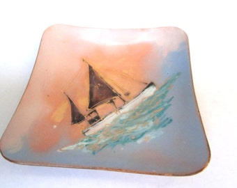 Mid Century Mod Copper Enamel Sailboat Tray