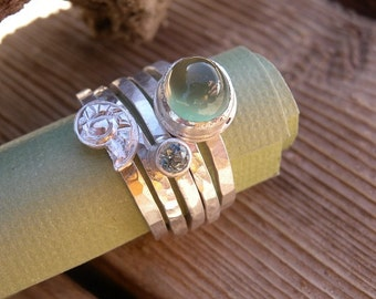 Prehnite and Aquamarine Stacking Ring Set with Repousse Silver Shell Sz 7 OOAK