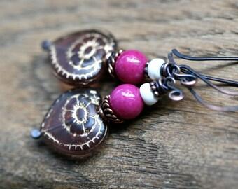 Be Mine earings-Bohemian, Boho,Vintage,oxidized metal,pink heart, valentines,blue , moonstone,pink carmine, assemblage,romantic,cute