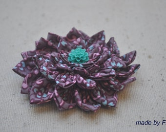 Chrysanthemum flower fabric brooch in Purple color (Ready To Ship)