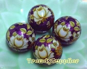 4 pcs, 16mm Japanese White Rose Pattern Round Metallic Purple Tensha Bead