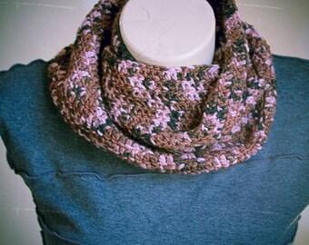 Mottled Brown, Pink, and Black Soft Malabrigo Merino Wool Infinity Scarf, Crochet, Cowl, Warm - Made by Kim
