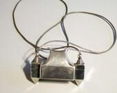 Vintage old silver lingam box pendant & sacred stone amulet Shiva necklace