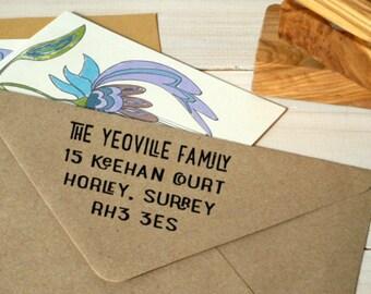 Fancy Caps Return Address Olive Wood Stamp