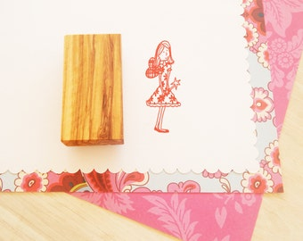Large Floral Standing Fairy Olive Wood Stamp