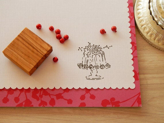 Red Currant Spray Pudding Olive Wood Stamp