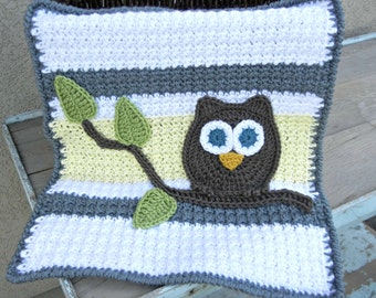Owl Baby Blanket Lovey Size Grey Yellow Baby Shower Gift Gender Neutral