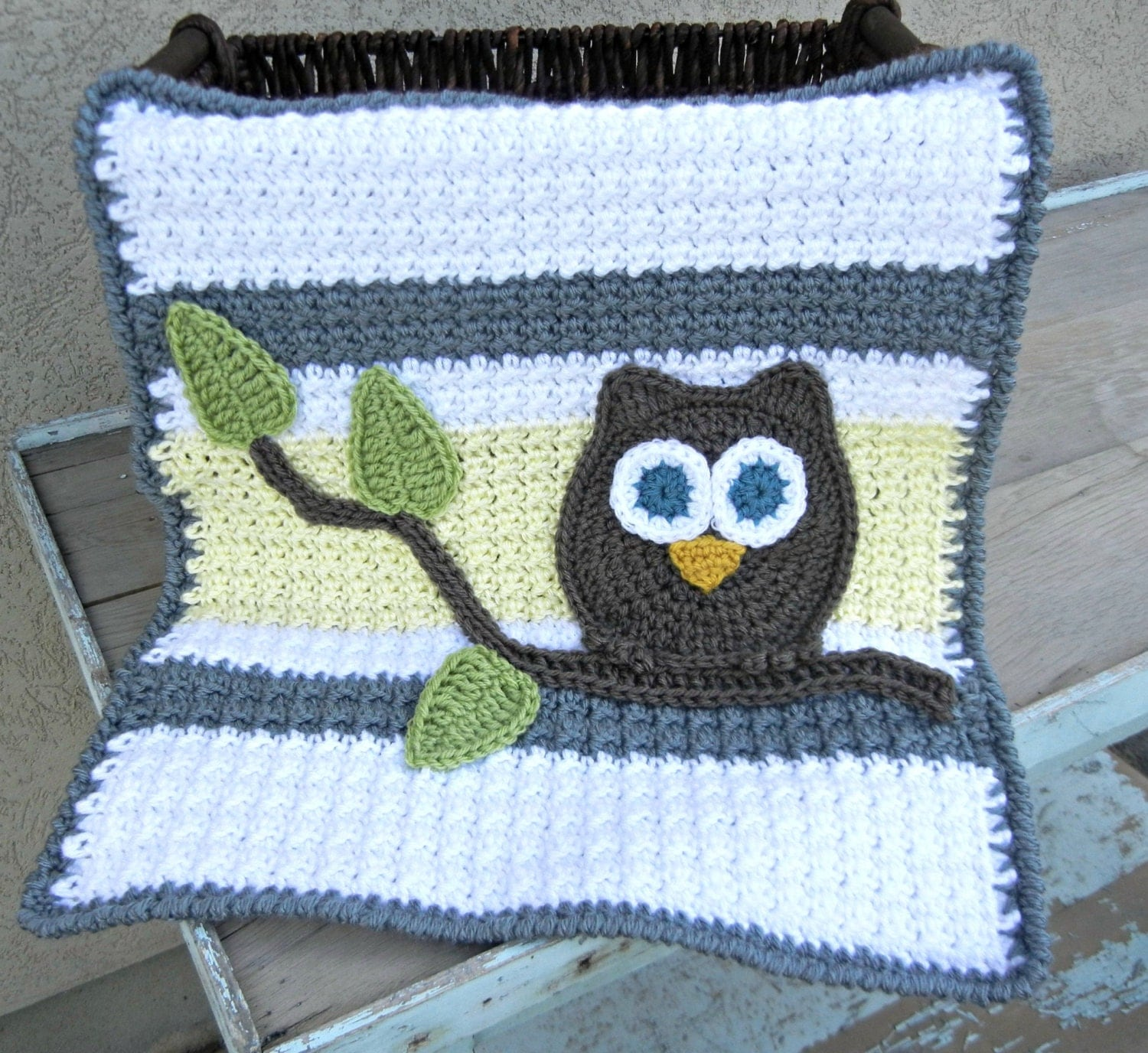 Owl Baby Blanket Lovey Size Grey Yellow Baby Shower By