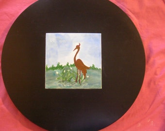 Turntable with Original Hand Painted Heron Tile and Cork Base