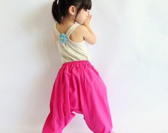 Kid's Pink Cotton Harem Pants