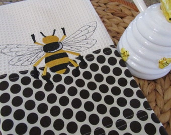 Napoleonic Bee - Retro Geo Fabric Edging - Microfiber Waffle Weave Kitchen Towel