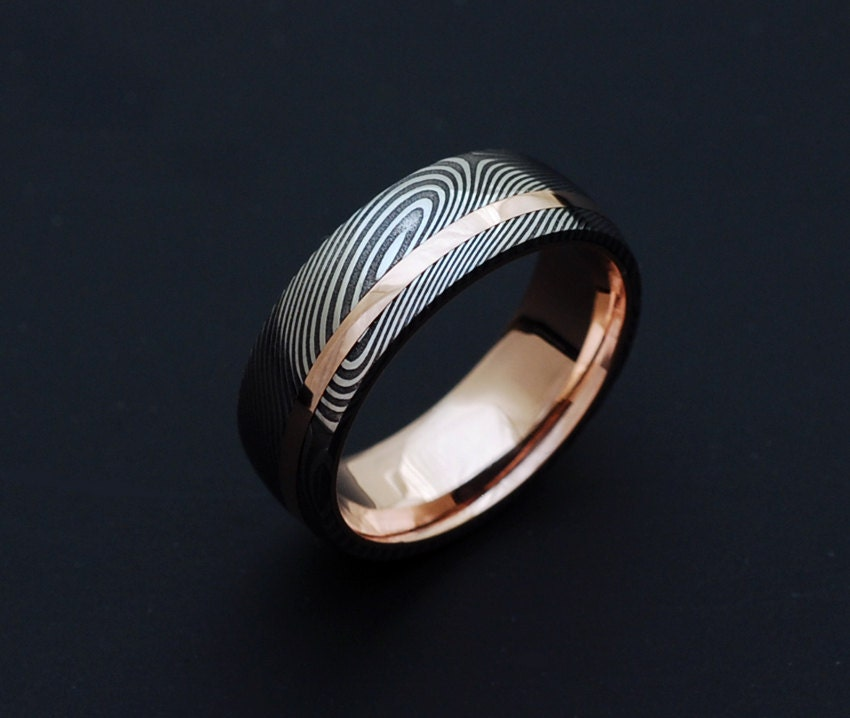 Damascus Steel Ring - Womens Wedding Band Four Pointed ... |Damascus Steel Rings For Women