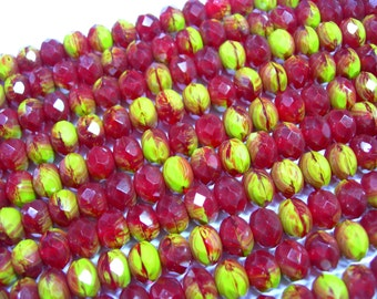 25 8x6mm Rich Ruby Red and Chartreuse Czech glass Rondelle beads