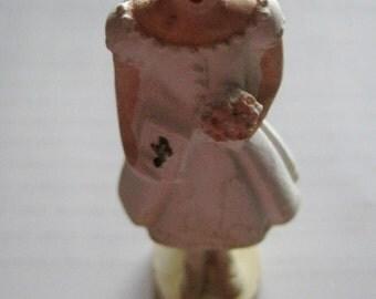 1st communion girl vintage chalkware