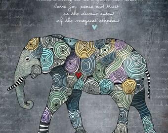 Sunder / Elephant original illustration ART Print Hand SIGNED size 8 x 10 World Elephant Day