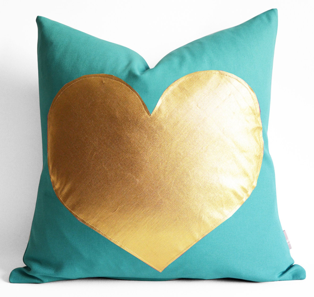 NEW Turquoise and SILVER Pillows Gold Foil Heart Pillow by sukan