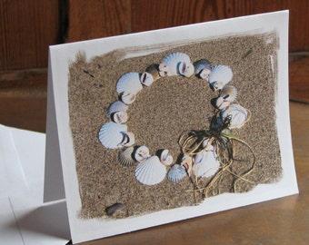 holiday beach theme note cards set of 3 fun creative coastal seashell wreath in the