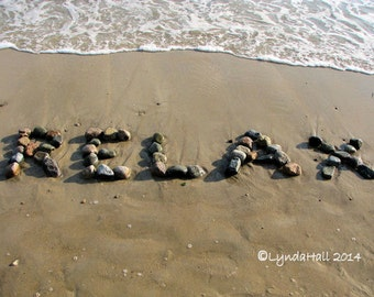 Beach theme photo art- RELAX Beach Wish Sentiment Photo 5x7 with Mat- fun upbeat word created with natural beach stones in the sand