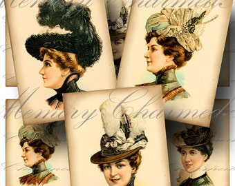 SALE!!! Victorian Ladies Hats Digital Collage Sheet / Digital Download / Fashion Headwear Vintage Models / ATC #2 INSTANT Download
