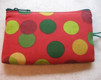 dots print red makeup jewelry padded bag
