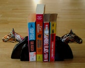 1930's Art Deco Horsehead Bookends Bronze Horse Heads and Brilliant Black Metal Book Ends Vintage/Antique